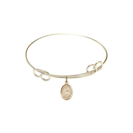 7 1/2 inch Round Double Loop Bangle Bracelet w/ Immaculate Heart of Mary in Gold-Filled