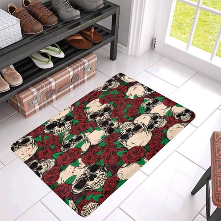 POP Abstract Grunge Color Skulls and Roses Indoor Entrance Rug Floor Mats Shoe Scraper Doormat 30x18 Inches - image 1 of 3