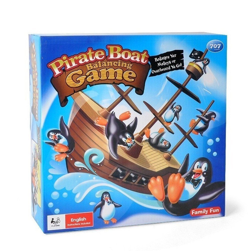 Pirate Boat Balancing Board Game Penguins Children Learning Educational Gift