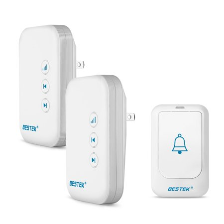 Wireless Doorbell, BESTEK Doorbell Kit Operating at over 500-feet Range with 1 Remote Button and 2 Plugin Receivers, LED Flash Lights, 36 Chimes for Home and Office (FCC Certification)- White