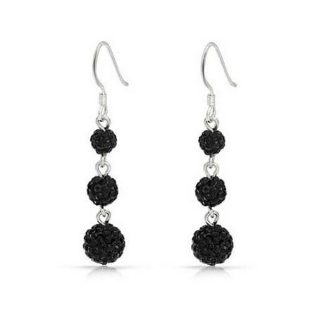 3 Black Crystal Balls Shamballa Inspired Dangle Earrings Sterling Silver