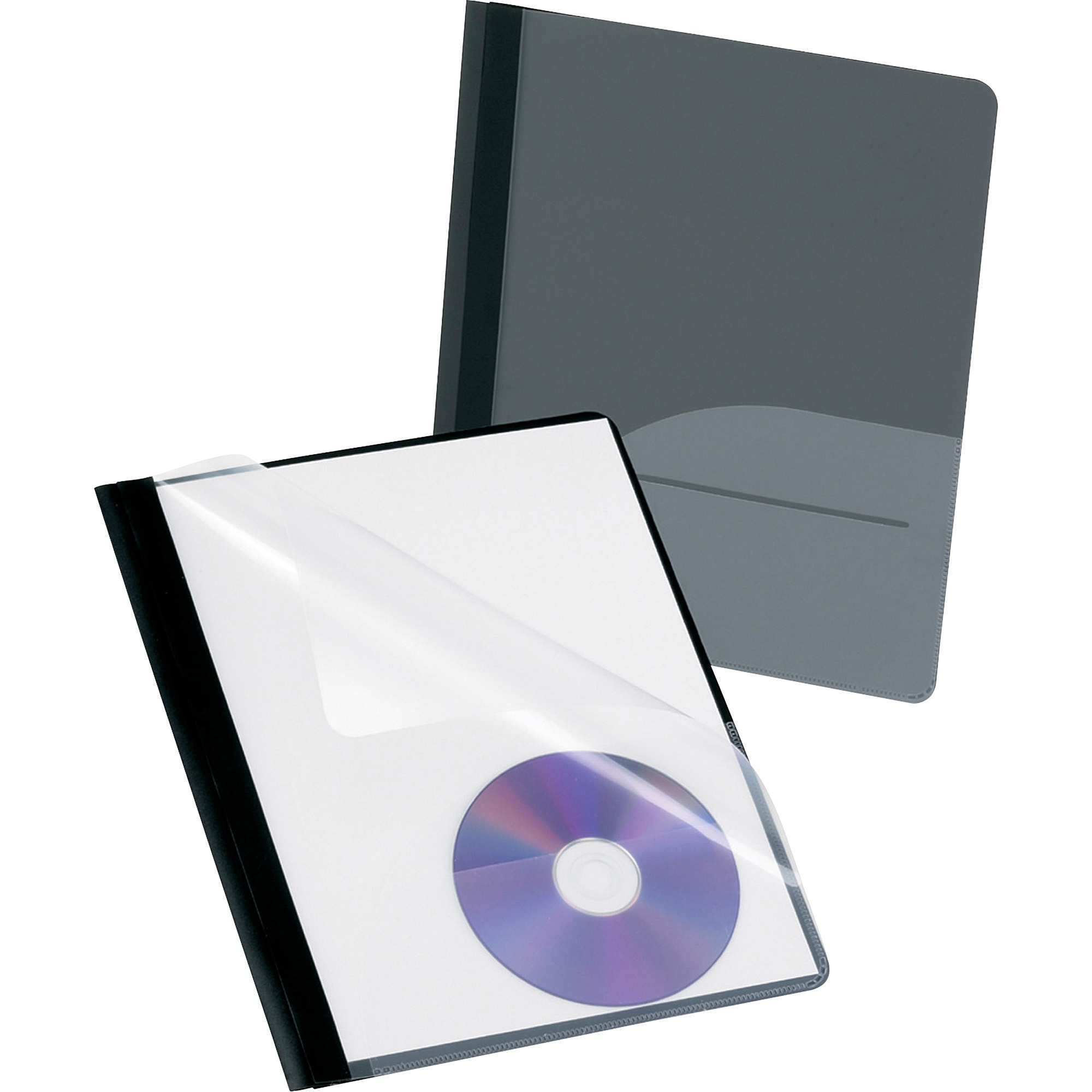 Oxford, OXF57727, CD Pocket Clear Front Report Covers, 25 / Box, Onyx,Opaque