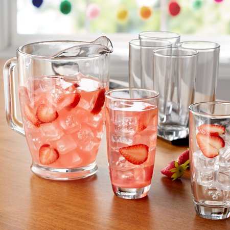 - Mainstays 7-Piece Clear Glass Pitcher and Drinkware Tumbler Set