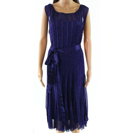 SLNY NEW Blue Womens Size 22W Plus Shimmer Belted Sheer Sheath Dress