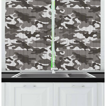 Camouflage Curtains 2 Panels Set, Monochrome Army Attire Pattern Camouflage inside Vegetation Military Equipment, Window Drapes for Living Room Bedroom, 55W X 39L Inches, Grey Coconut, by (Best Aroma Young Coconut)
