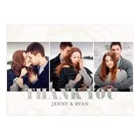 Personalized Wedding Thank You Card - Classic Marble - 5 x 7 Flat