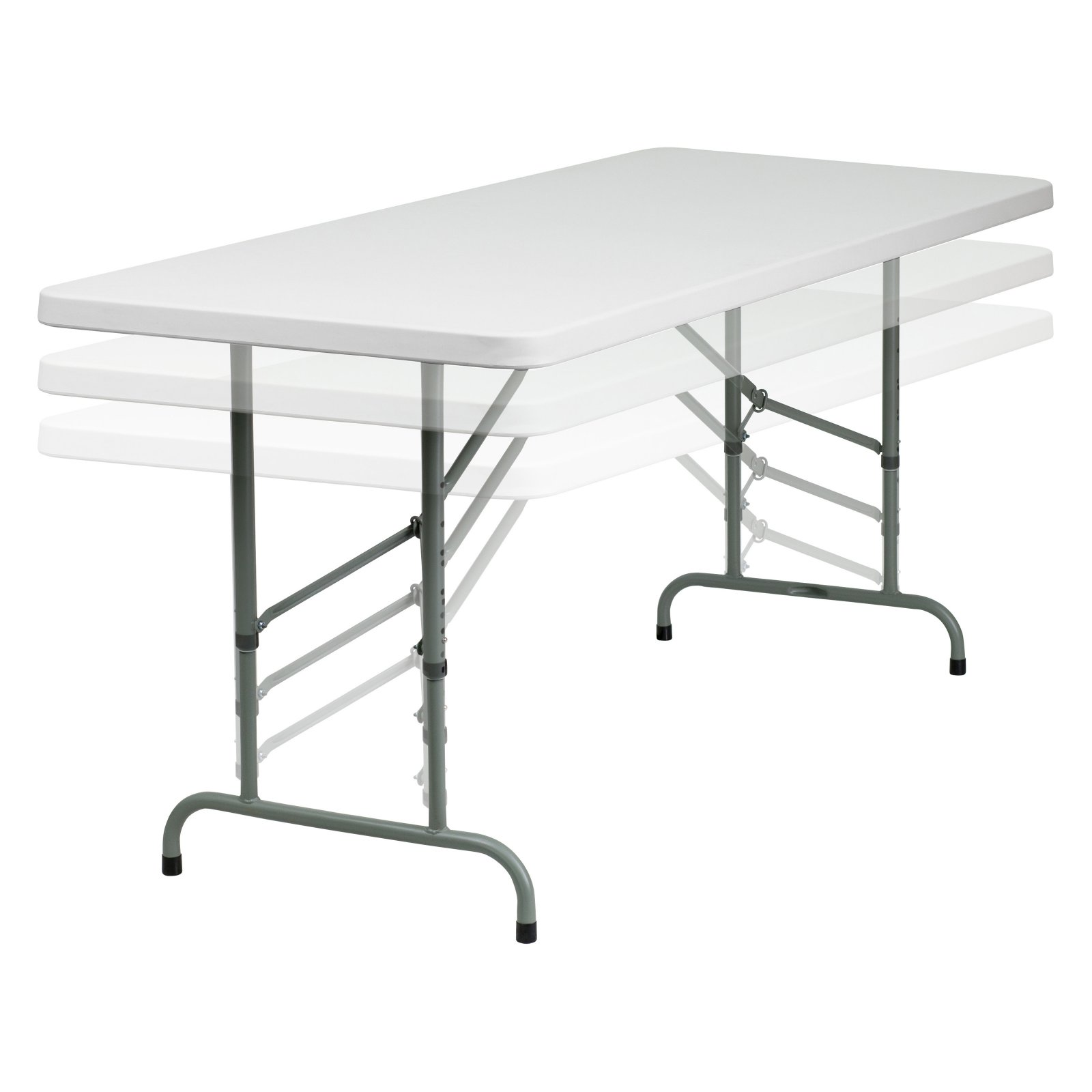 Flash Furniture 30''W x 72''L Height Adjustable Granite White Plastic Folding Table by Flash Furniture