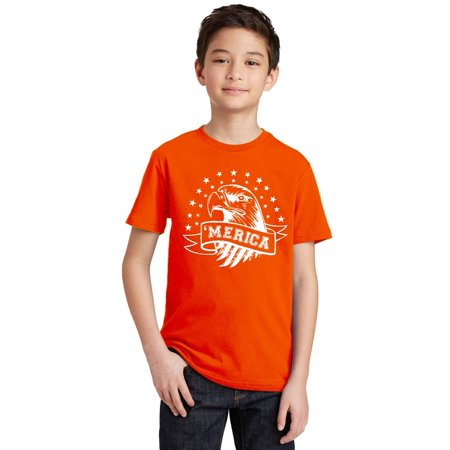 Merica Eagle with Stars 4th of July Youth T-shirt, Youth XS, Orange - Orange Star