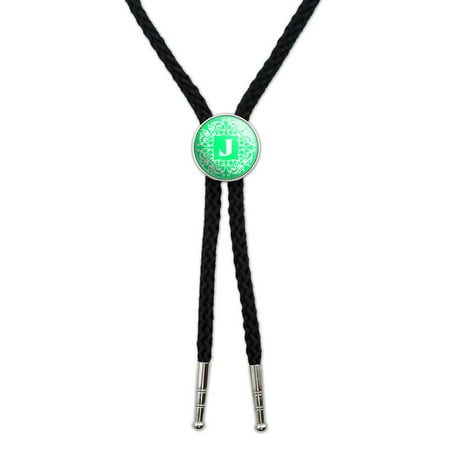 Letter J Initial Teal and White Scrolls Southwestern Bolo Tie