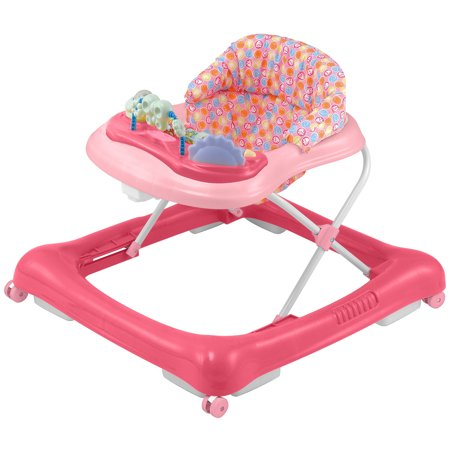 Big Oshi 2 in 1 Baby Walker & Activity Center on Wheels - Musical Walker with Tray Table Baby Activity Center with Toys and 12 Melodies - Adjustable Seat - Girls,