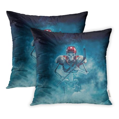 - USART The Phantom Hockey Player 3D of Scary Skeleton Ice Stick Helmet and Shoulder Pillowcase Cushion Cases 20x20 inch Set of 2