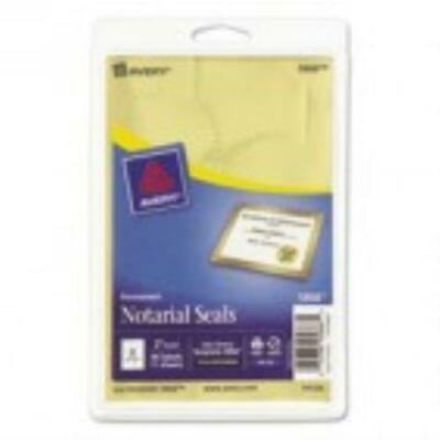 2PK Avery Metallic Gold Print or Write Notarial Seals for Inkjet Printers,44/Pack ()