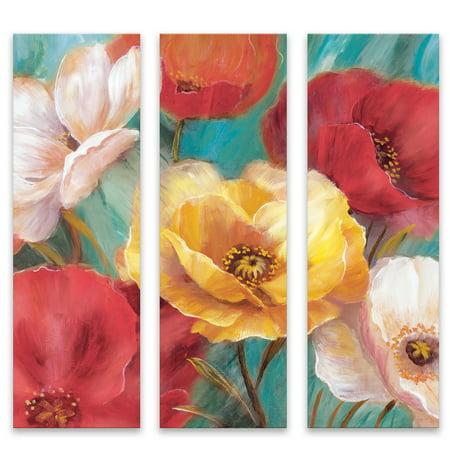 Jardin de Primavera Triptych Printed Canvas, 10u0022 x 30u0022, 3 Count
