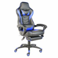 C-type Foldable Nylon Foot Racing Chair with Footrest Black & Blue
