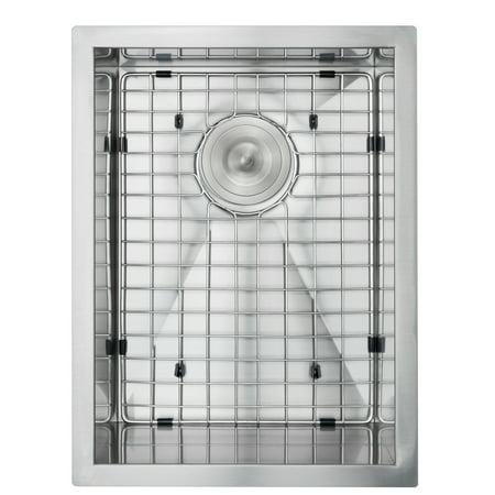 "Image of AKDY 15"" x 20"" x 9"" Handmade Under Mount Basin Stainless Steel Kitchen Sink w/ Grid & Drain Kit"