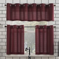 Mainstays Elevated Solid 3 Piece Kitchen Curtain Set