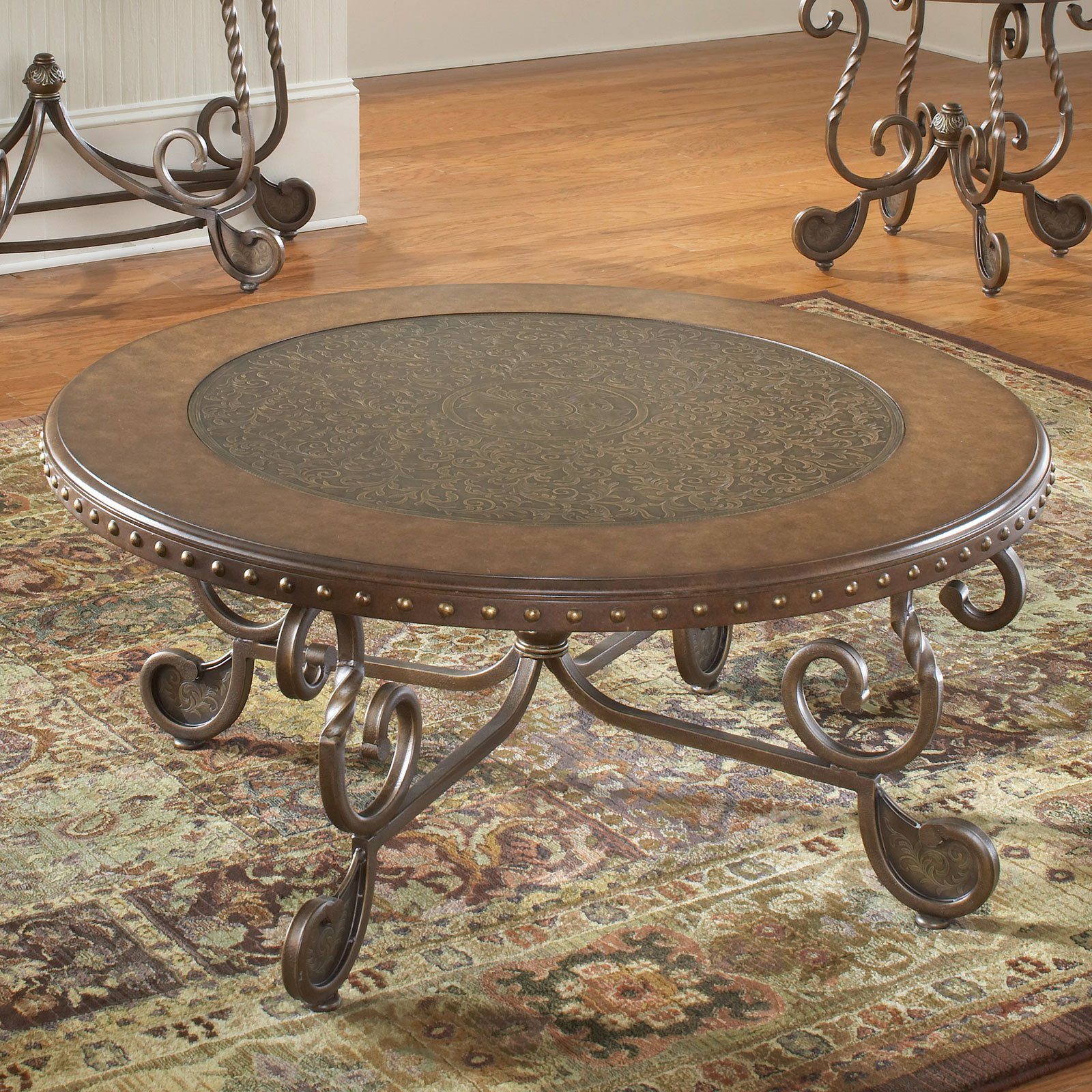 Bernards Metal Etched Round Coffee Table with Nailheads