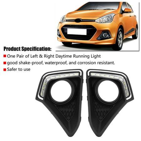 Qiilu 1 Pair Car Daytime Running Light DRL LED Daylight Fog Lamp for Hyundai Grand I10 Xcent 14-16,Daytime Running Light, LED Daylight - image 5 of 8