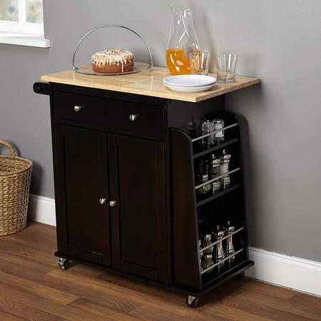 Target Marketing Systems Sonoma Kitchen Cart, Multiple (Black Natural Kitchen Cart)