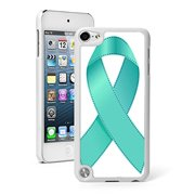 For Apple iPod Touch 5th / 6th Generation Hard Back Case Cover Ovarian Cancer Awareness Ribbon (White)