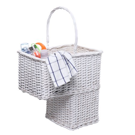 Large Capacity Stair Basket for Staircases | Wicker Woven Storage Bin for Stairs | Natural White Organizer Baskets | Handles | Reduce Clutter ()