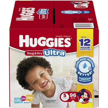 HUGGIES Snug & Dry Ultra Diapers, Size 5 (Choose Diaper Count)