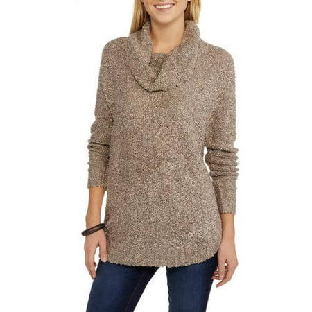 Faded Glory Women's Boucle Cowl Neck Sweater - Walmart.com