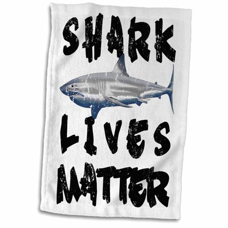 3dRose A funny ocean conservation for Great White Sharks Shark Lives Matter. - Towel, 15 by 22-inch - Shark Towel