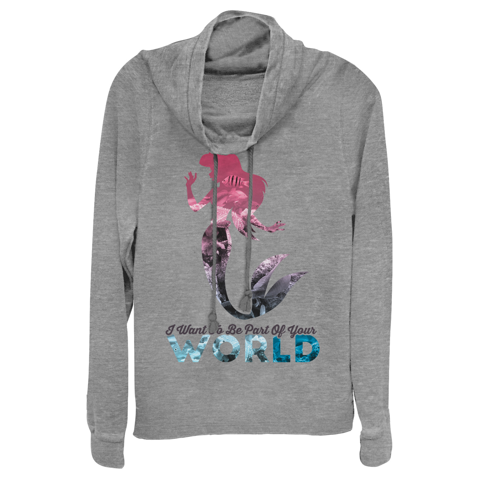 The Little Mermaid Juniors' Ariel Part of Your World Cowl Neck Sweatshirt
