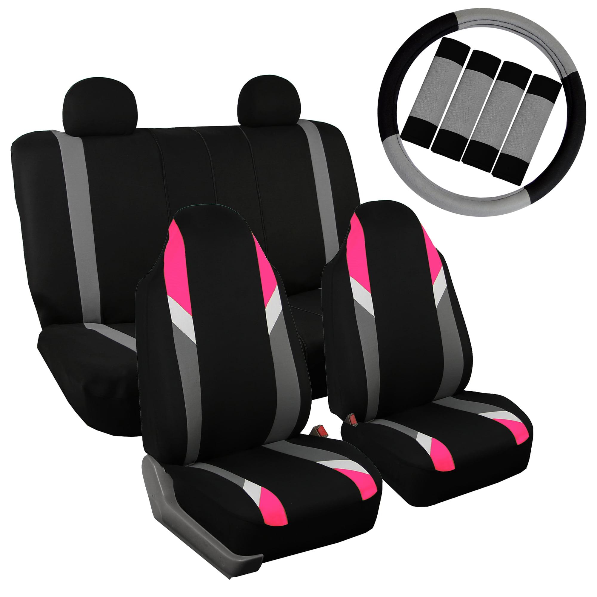 FH Group Car Seat Covers Supreme Modernistic for Sedan, SUV, Van, Full Set w/ Steering Cover & Belt Pads, Pink Black