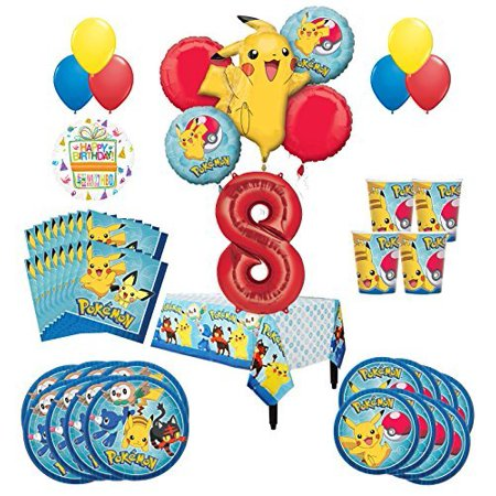 Pokemon 8th Birthday Party Supplies and 8 Guest 54pc Balloon Decoration Kit - Birthday Party Stores