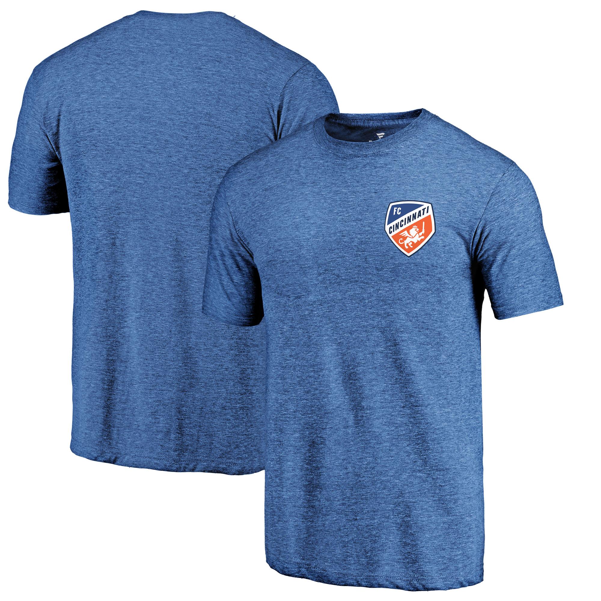 FC Cincinnati Fanatics Branded Left Chest Primary Logo Tri-Blend T-Shirt - Royal