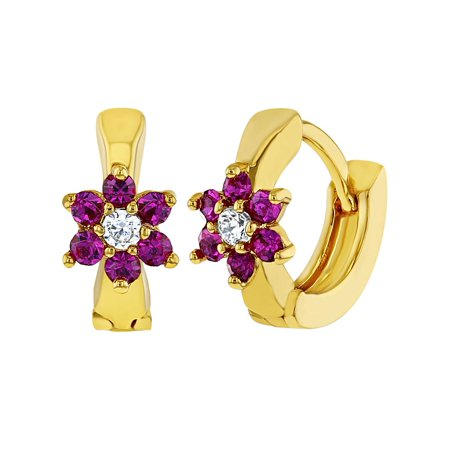 18k Gold Plated Hot Pink Clear Crystal Flower Hoop Earrings for Girls Kids 0.39