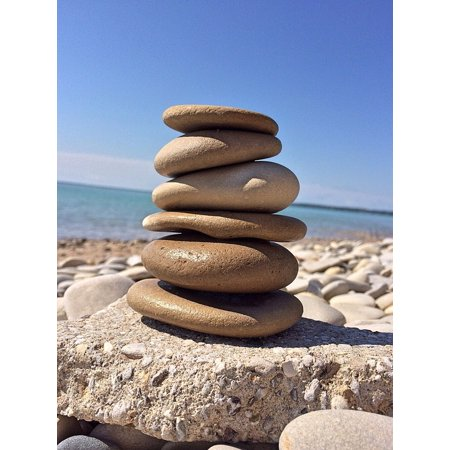 Laminated Poster Balance Zen Harmony Stack Rock Stone Poster Print