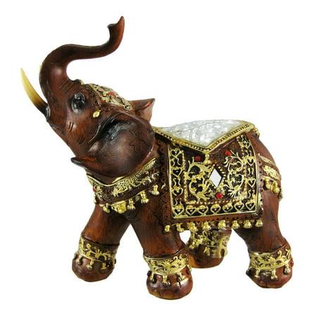 - Gorgeous Wood Finish Indian Elephant Statue Crackle Glass