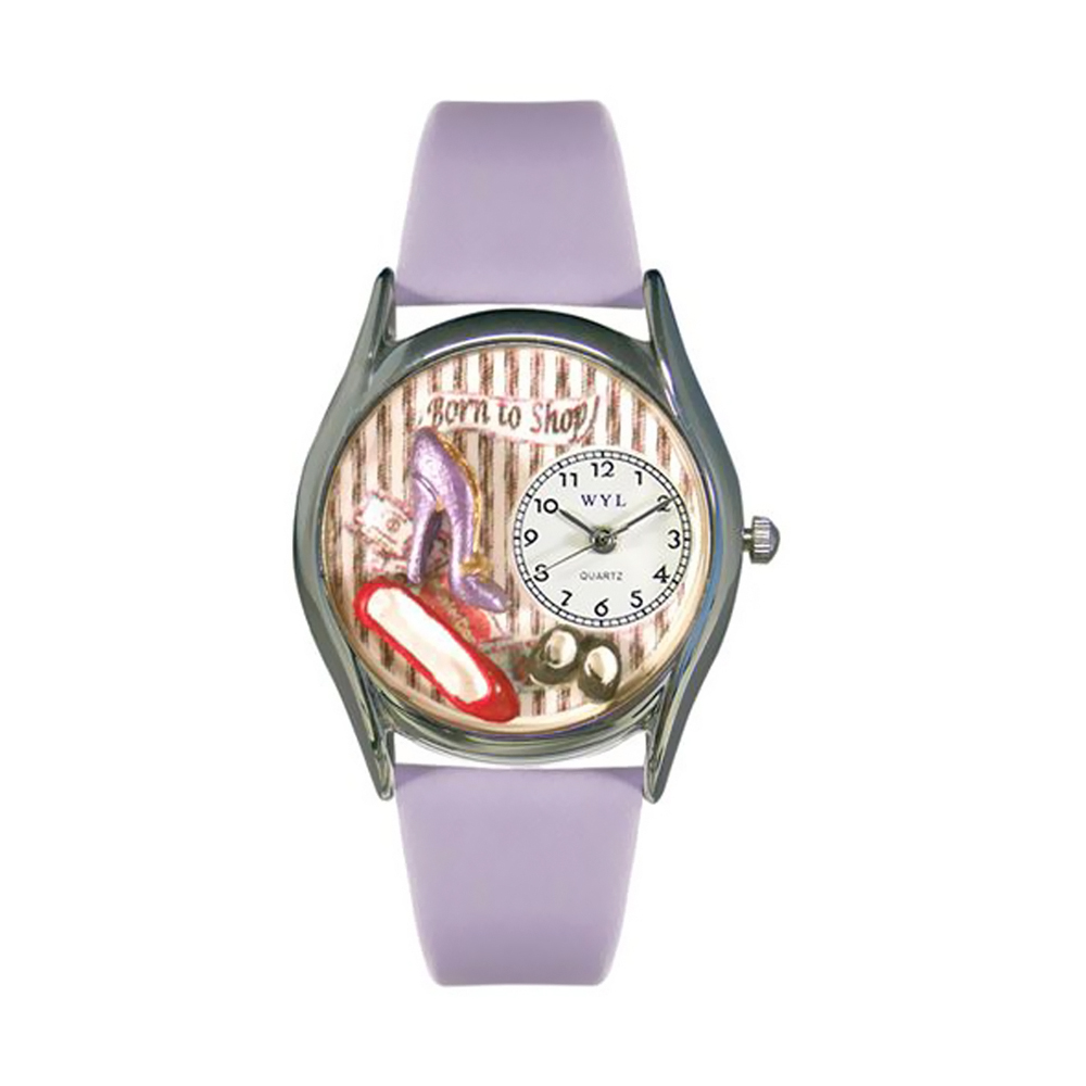 Whimsical Shoe Shopper Lavender Leather And Silvertone Watch