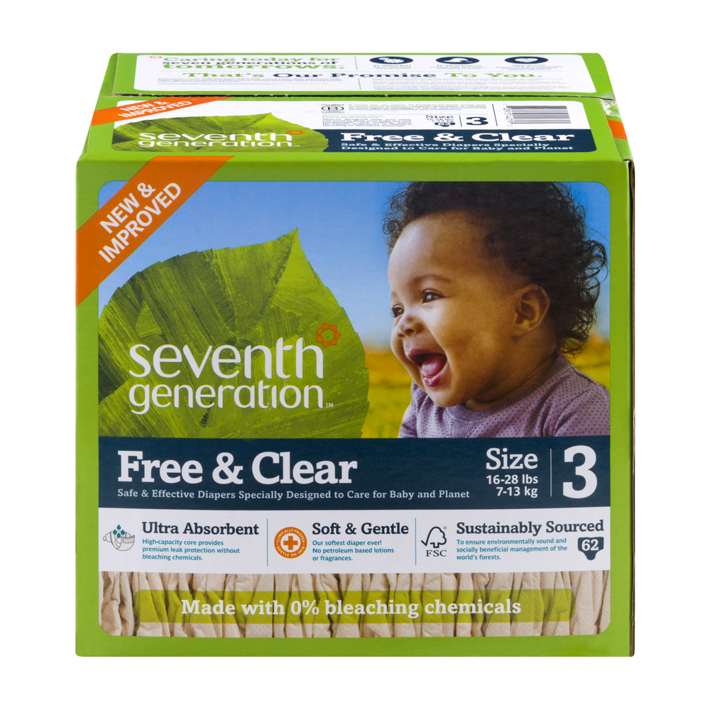 Seventh Generation Free & Clear Diapers Size 3 (16-28 lbs) - 62 CT