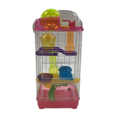 YML 3-Level Clear Plastic Dwarf Hamster Mice Cage with Ball on Top, Pink