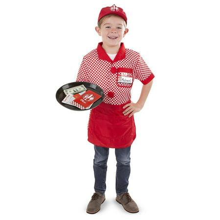 Melissa & Doug Server Role Play Costume Dress-Up Set With Realistic - Realistic Costume
