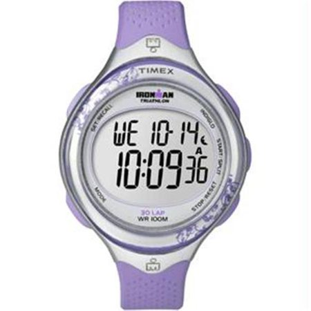 T5K603 Women's Ironman 30-Lap Triathlon Indiglo Night-Light Digital Silver Dial Purple Resin Strap Chrono (Power Of Woman Triathlon)