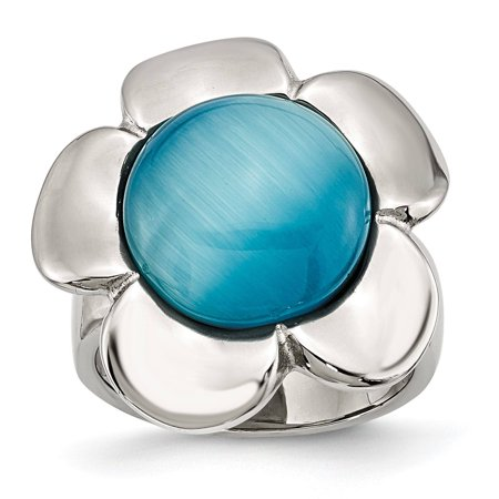 Ladies Chisel Stainless Steel Blue Agate Flower Classy Ring Size 8