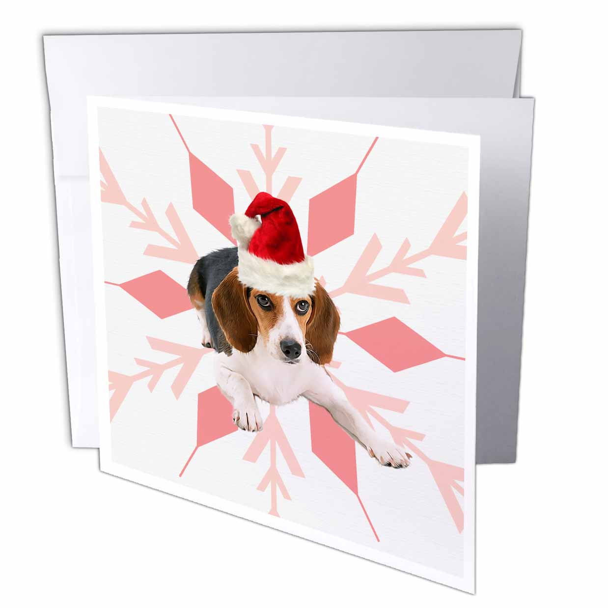 3dRose Beagle Dog Breed in a Red and Pink Santa Hat with Snowflake Christmas, Greeting Cards, 6 x 6 inches, set of 12