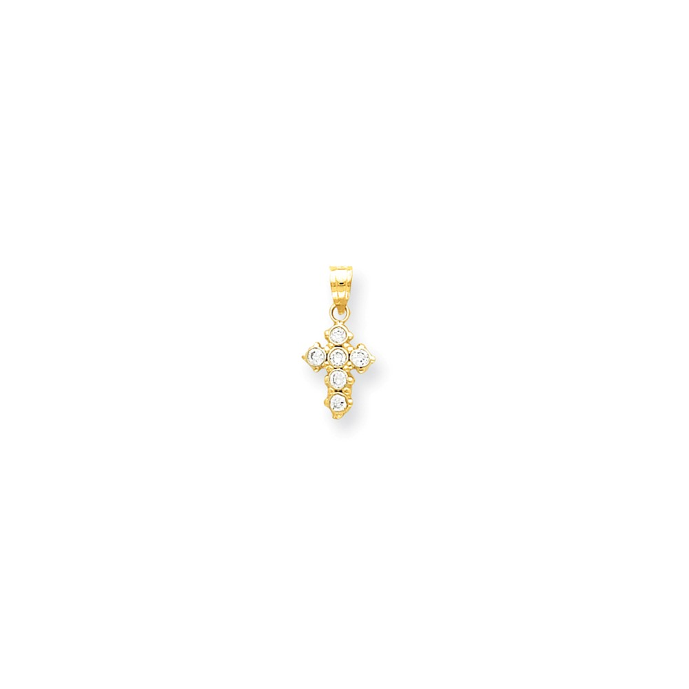 10k Yellow Gold Polished CZ Cross Charm (0.7in long x 0.4in wide)