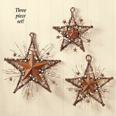Rustic Country Primitive Berry Star Wall Decor Set