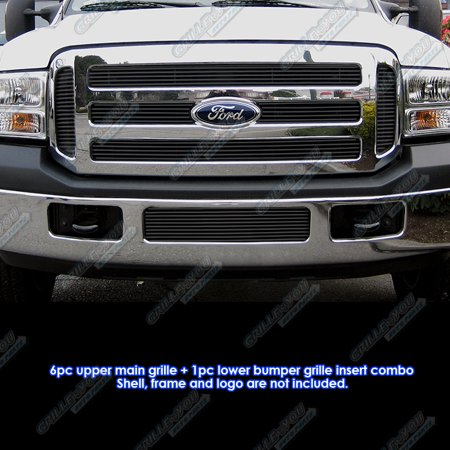 - Fits 05-07 Ford F250/F350 Super Duty Black Billet Grille Grill Combo Insert