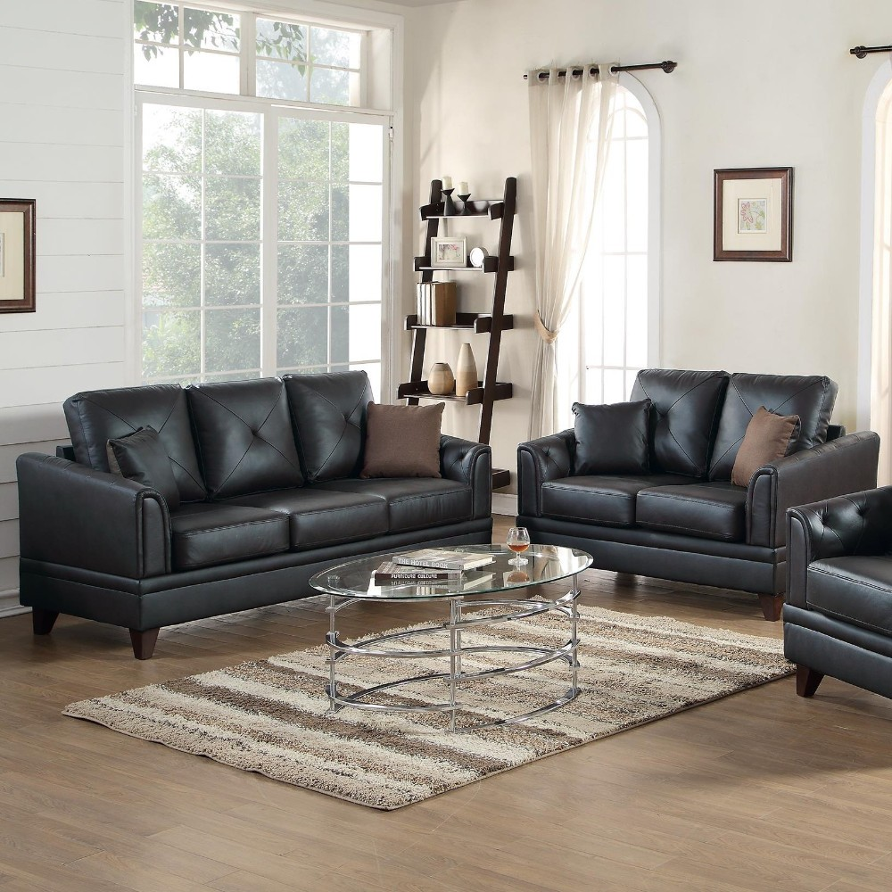 Genuine Leather 2 Pieces Sofa Set In Black