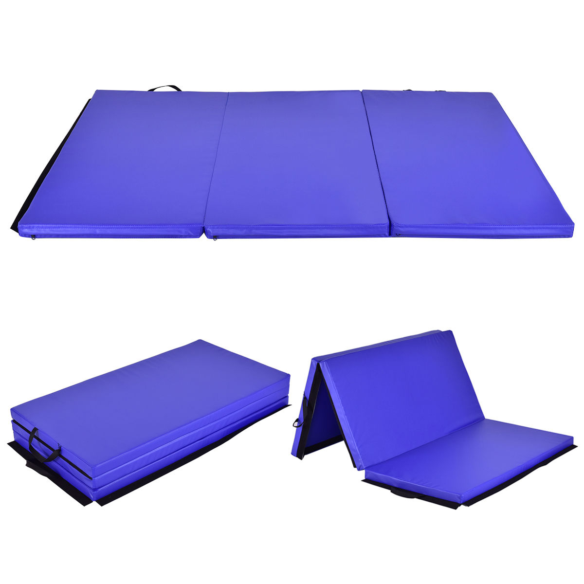 costway 6u0027x 4u0027 trifold gymnastics mat thick folding panel gym fitness