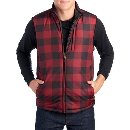 Weatherproof Vintage Men's Reversible Vest Red Plaid Reversible Plaid Pullover