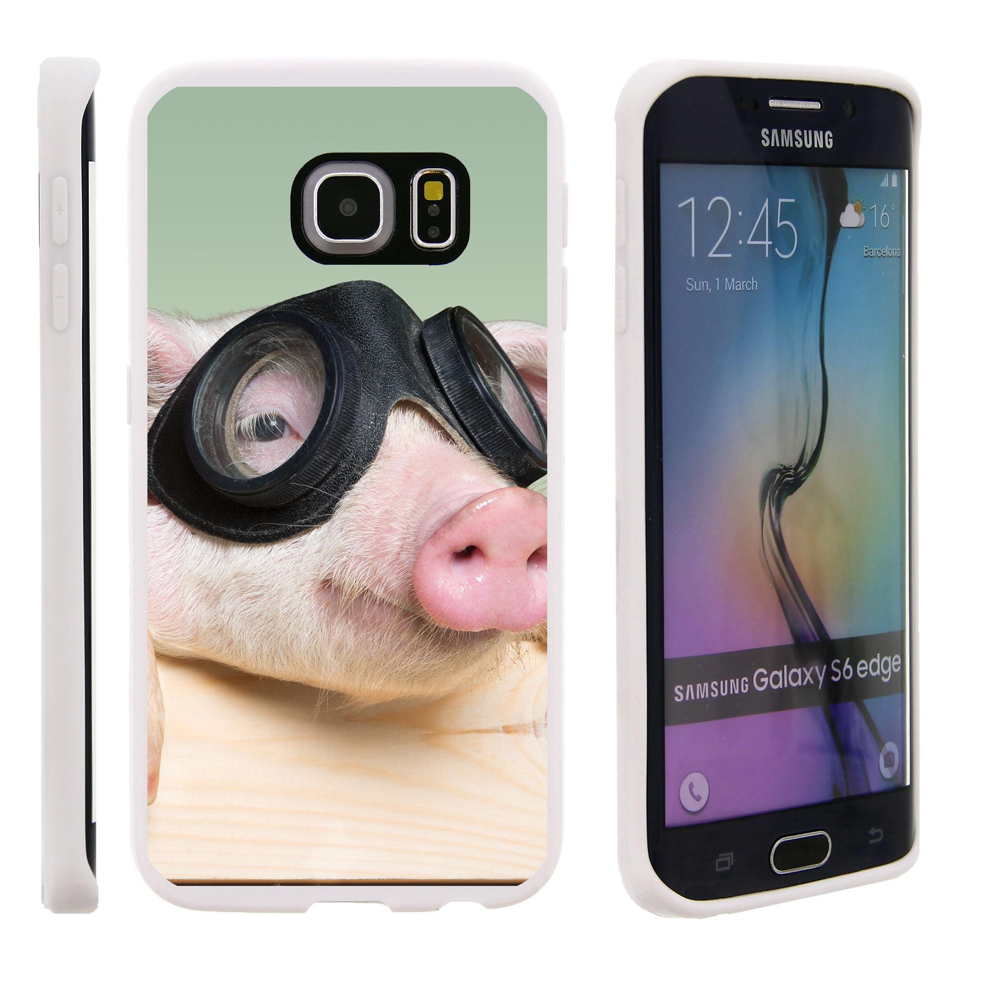 Samsung Galaxy S6 Edge G925, Flexible Case [FLEX FORCE] Slim Durable TPU Sleek Bumper with Unique Designs - Cute Pig in Goggles