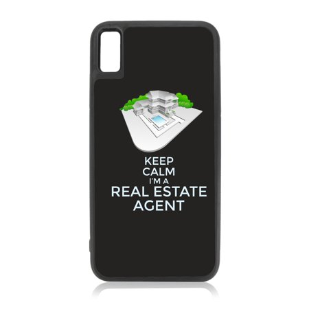 Keep Calm I'm a Real Estate Agent Black Rubber Case for iPhone XR - iPhone XR Phone Case - iPhone XR